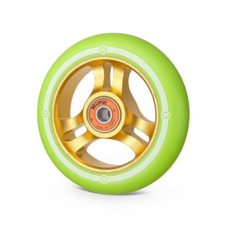 Колесо Hipe 3W 100 мм  золотой/св.-зеленый