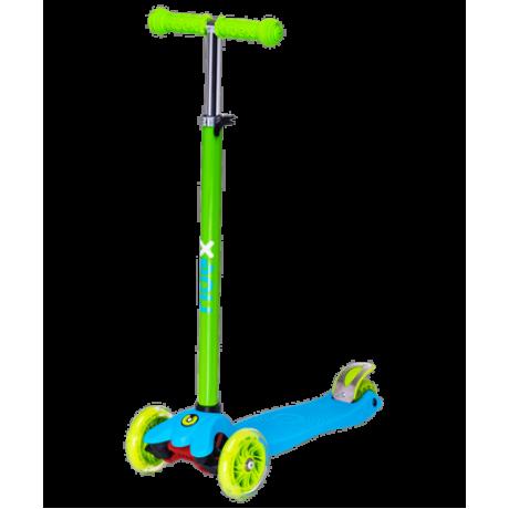 Самокат 3-колесный Snappy 3D, 120/80 мм, синий/зеленый