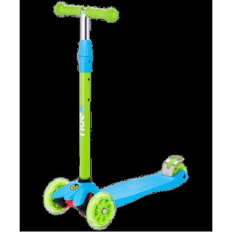 Самокат 3-колесный Snappy 2.0 3D 120/80 мм, голубой/зеленый