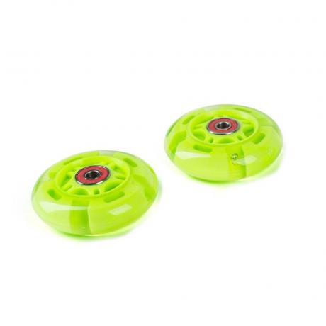Светящиеся колеса задние зеленые 80 мм (2 шт.)