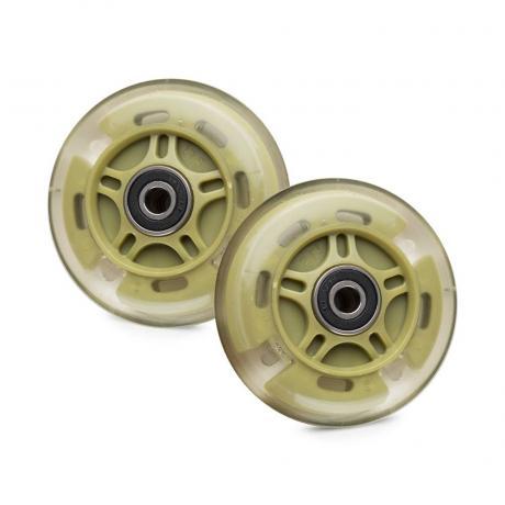 Светящиеся колеса задние зеленые (хаки) 80 мм (2 шт.)